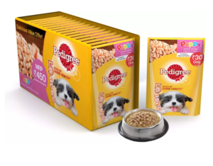 Pedigree Gravy Chicken Chunks for Puppy Chicken Dog Food (1.2 kg, Pack of 15) at rs.150