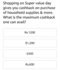 amazon super value day quiz question1 answers