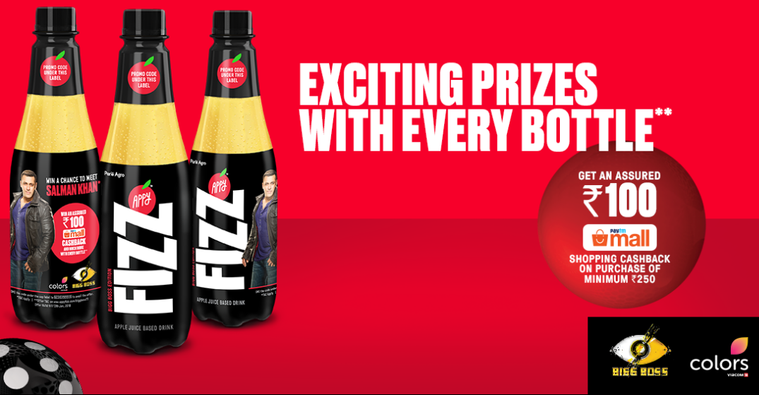 fc9380b7360 How to get Rs.100 Paytmmall cashback code with every purchase of Appy Fizz  250/500/1000 ml bottle? :