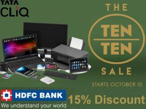 tatacliq ten by ten sale get 15 discount with HDFC