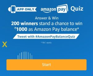 7th Dec Amazon Pay Quiz Answers Answer 5 simple questions and win Rs 1000 pay balance