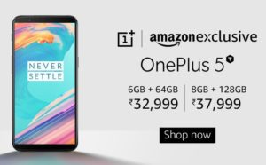 Amazon - Buy OnePlus 5T from Rs 32999 + Rs 1500 off HDFC + Other Offers