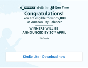 Amazon Kindle Lite Contest Answers