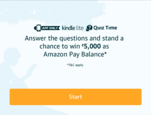 Amazon Kindle Quiz Time Win Rs 5000