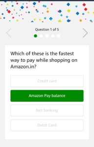 Amazon pay Balance quiz answers added win Rs 1000