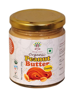 Arya Farm Organic Peanut Butter-Crunchy, 200g at rs.75