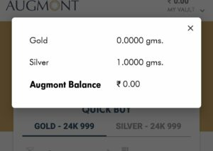 Augmont app redeem your free silver