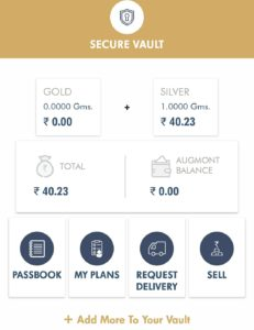Augmont app request delivery of silver to vault