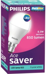 Bulb Philips 8.5 W Round B22 LED Bulb