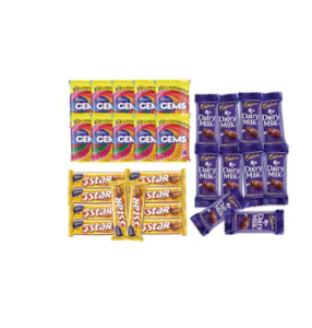 Cadbury Chocolaty Treat (Dairy Milk + Five Star + Gems ) Pack Of 30 at rs.195