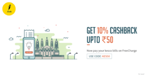 Freecharge- Get flat 10% cashback on KESCo