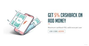 Get 5% Cashback on Adding Money in Freecharge Wallet