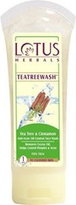 Lotus Herbals Teatreewash Tea Tree and Cinnamon Anti-Acne Oil Control Face Wash, 120g