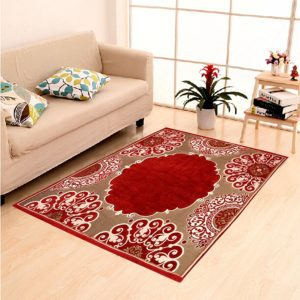 (OVER) Amazon Loot - Buy Ethnic Velvet Touch Abstract Chenille Carpet Maroon for Rs 10 only