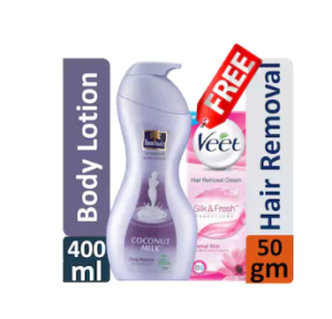 Parachute Advansed Body Lotion Deep Nourish - 400 ml +Veet Hair Removing Cream 50g FREE worth Rs. 110 at rs.179