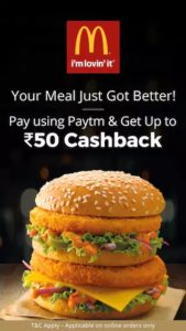 PayTM - Get 10% cashback up to Rs.50 cashback when you pay using Paytm Wallet at McDonalds