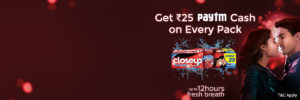PayTM - Get Rs 25 PayTM Cash on Closeup Toothpaste Pack Cashback discount closeup close up offer paytm steal deal loot