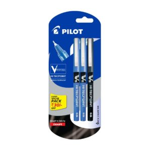 Amazon - Buy Pilot V5 Liquid Ink Roller Ball Pen - 2 Blue + 1 Black for Rs 119 only