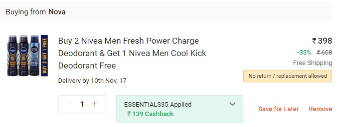 Buy 2 Nivea Men Fresh Power Charge Deodorant & Get 1 Nivea Men Cool Kick Deodorant Free Buy 2 Nivea Men Fresh Power Charge Deodorant Promo Code