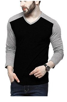 Tripr Men's V-Neck Full Sleeves Tshirt Black Grey