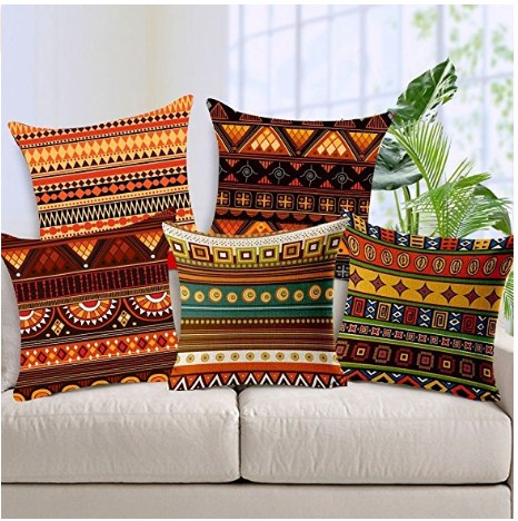 Aart Ethenic Pattern printed cushion cover set of 5 16 by16 by Aart Store