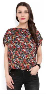 MANGO Casual Short Sleeve Floral Print Women's Multicolor Top