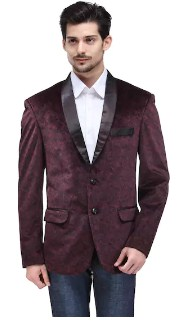 Canary London Maroon NA Slim Fit Blazers