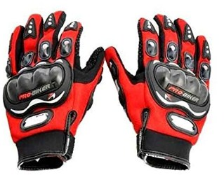 Probiker Full Finger Gloves for Bikers (Red), Large