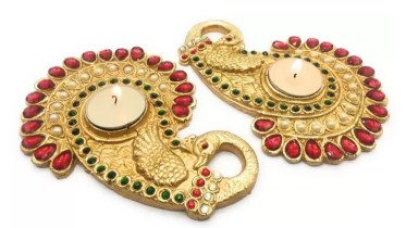 AuraDecor Peacock Shape Polyresin Tealight Holder (Gold, Pack of 2)