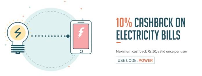 10% cashback upto 50 on Electricity Bill Payments on Freecharge