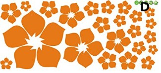 Syga 'Orange Flowers' Wall Sticker (PVC Vinyl, 30 cm x 5 cm x 5 cm, Orange)