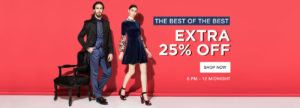 (Today Only) Jabong Steal - Branded Clothing at min 50% off + extra 25% off + Rs 75 PayTM cashback