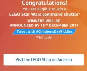 amazon LEGO Contest riddles congratulations results 15th december