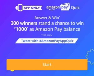amazon app pay quiz win Rs 1000 balance 300 winners questions answers