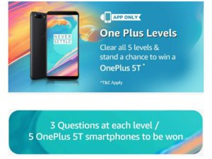 amazon oneplus 5t levels contest win phone for free