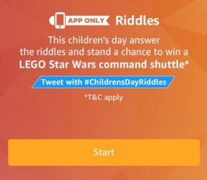 amazon riddles children day win lego battle spaceship all answers