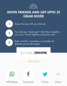 augmont app share referral code with friends and get silver