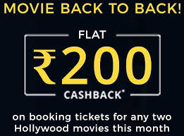 Get 50% Cashback upto 200 on watching two Movies