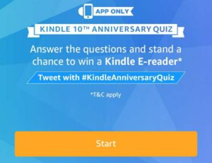 find all answers today's amazon quiz contest kindle e-reader