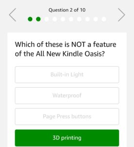 kindle quiz time amazon quiz questions answers 22nd november
