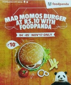 mad momos foodpanda app 4-5 nov Rs 10 only burger