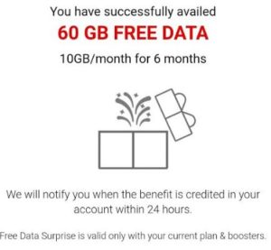 my airtel app 60 gb data successfully credited