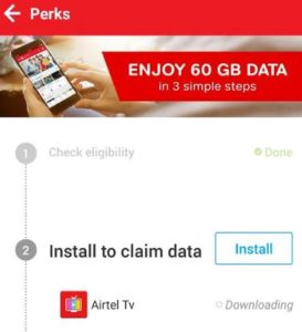 my airtel app get 60 gb free internet data