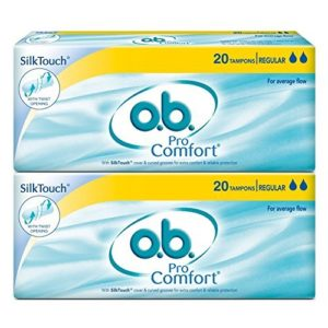 Buy O.B Pro Comfort Regular Tampons - 20 Pieces (Average Flow, Pack of 2) for Rs.210 only