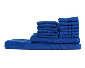 Towel Town Set of 10 Ecospun Towels (2BT + 2 HT + 6 FT) Blue