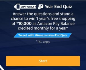 AMazon year end quiz answer today