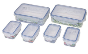Bel Casa Lock & Store Plastic Container Rectangular Set, 6-Pieces, Clear