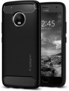 Buy Spigen Back Cover for Motorola Moto G5 Plus (Black, Rugged Armor, Plastic) For Rs.299