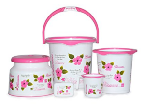 Cello Blossom 5 Piece Plastic Bucket, Small, Pink at rs.714