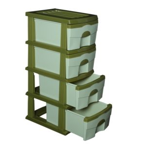 Cello Organiser 4 Drawer Storage Chest (Green and Light Green)
